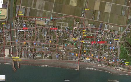 『香我美町史』附録地図から一部転用。現在の字境とは大きく相違する