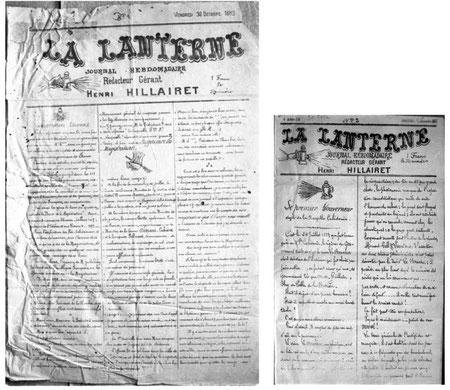 Les deux formats de La Lanterne : première page du numéro 1 et.... première page du numéro 3.