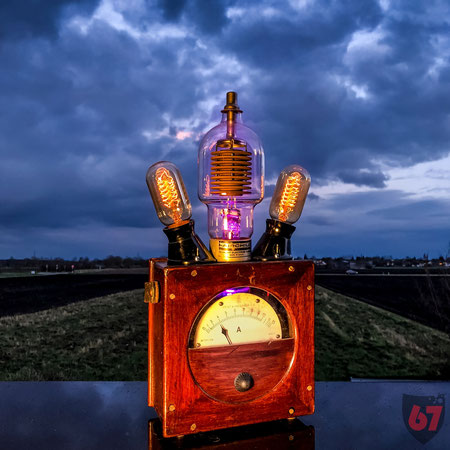 Upcycling DIY lamp steampunk lightart antique Amperemeter Fairchild 6303 tube by Jürgen Klöck