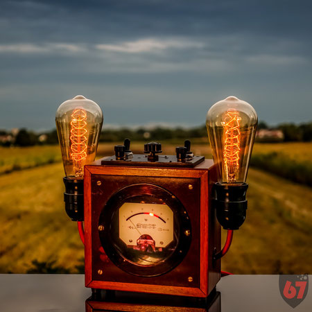 Upcycling DIY Edison lamp steampunk antique Wattmeter by Jürgen Klöck
