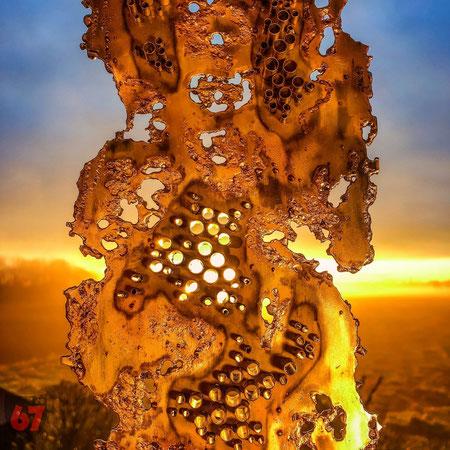 Metal sculpture artwork Skulptur Kunstwerk Monomorphe Struktur by Jürgen Klöck