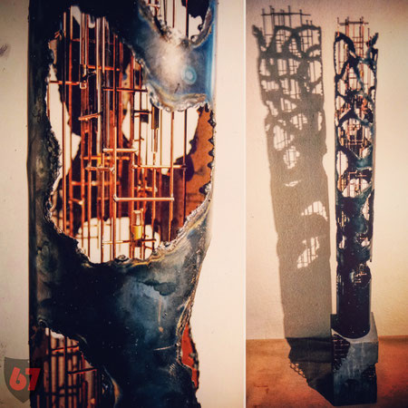 Metal sculpture artwork Skulptur Kunstwerk Omega by Jürgen Klöck