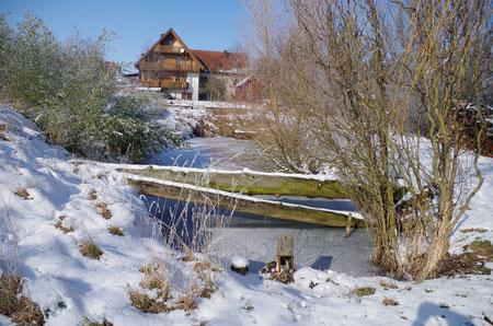 Unser Anwesen in Ulsenheim von der Gollach aus betrachtet
