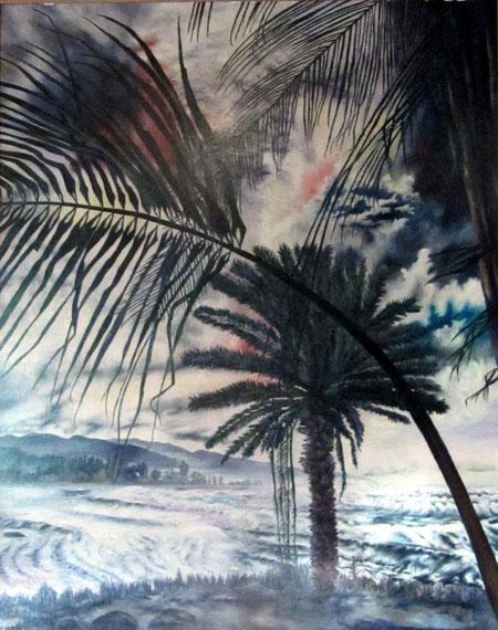 Strand in Hawaii/Beach in Hawaii, Oel auf Karton/Oil on pasteboard, 110x150 cm, 1986. Künstler/Artist: Günther Schindler von Wallenstern,  in Privatbesitz/in private hands.