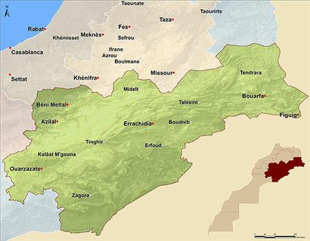 Territoire Atlas et vallées Maroc