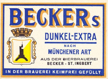 Becker Brauerei Bieretikett St.Ingbert