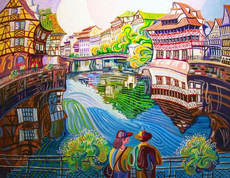 PETITE FRANCE (ESTRASBURGO). Oleo sobre lienzo. 81 x 100 x 3,5 cm.