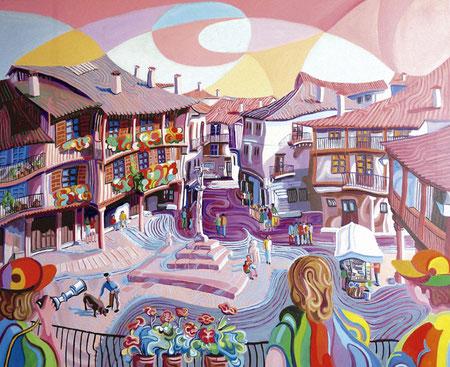 PLAZA DE LA ALBERCA (LA ALBERCA). Oil on canvas. 81 x 100 x 3,5 cm.