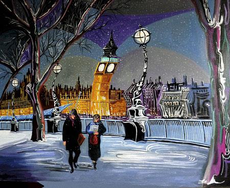 NEVADA EN EL TAMESIS (LONDON). Oil on canvas. 81 x 100 x 3,5 cm.