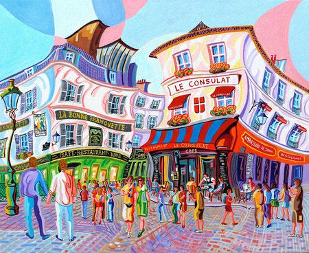 MONTMARTRE (PARIS). Huile sur toile. 81 x 100 x 3,5 cm.