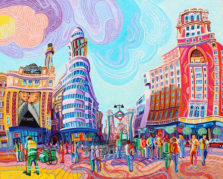PLAZA DE CALLAO (MADRID). Huile sur toile. 81 x 100 x 3,5 cm.