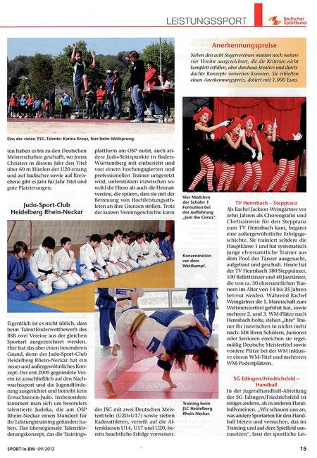 """Erschienen in der Ausgabe September 2012 von """"Sport in BW"""""""