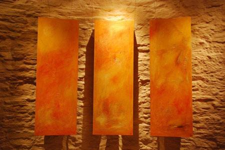Licht un Mühle. Triptychon. Öl auf Holz. Je 70x150. 2011
