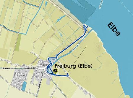 Bild: Wanderkarte durch das Naturschutzgebiet vom Allwördener Außendeich an der Elbe