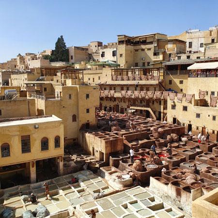Leerlooierij, tannery, fez, fes, Marokko
