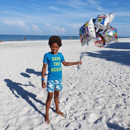 Florida, jarig, 10 jaar, verjaardag op het strand