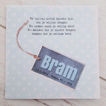 Bram's aankomstkaartje.