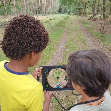 Drenthe, wandelen met kinderen, tablet wandeling, vr, the nature game