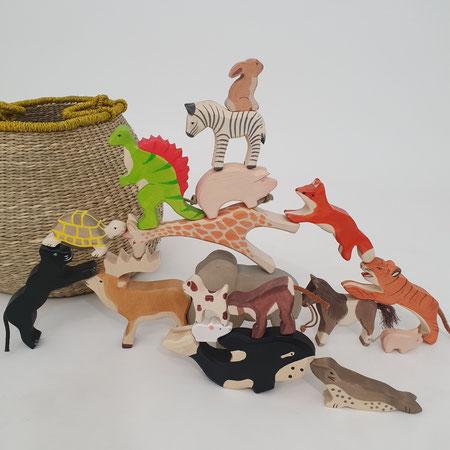 Holztiger, houten dieren, dieren stapelen