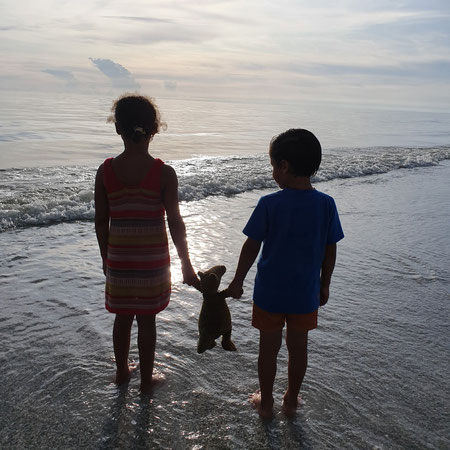 Florida, Zee, strand, broer en zus.