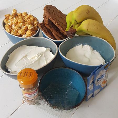 Ingrediënten voor de bananencheesecake met karamelpopcorn.