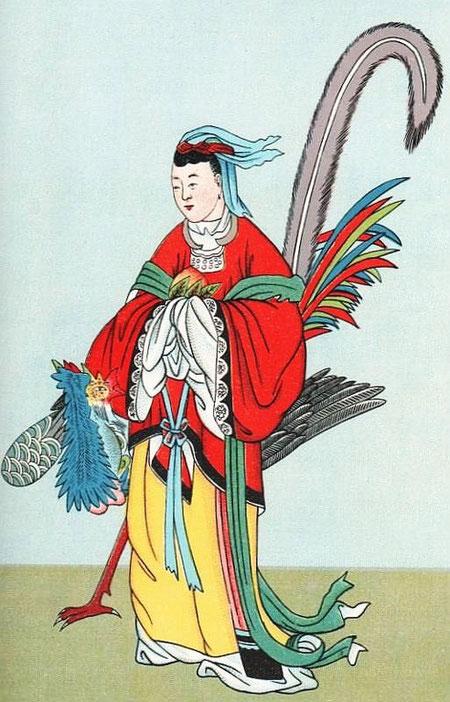 La déesse Si-wang-mou. Cf. Henri Doré, Recherches sur les superstitions en Chine, Tome IX : Deuxième partie : le panthéon chinois, chapitre IV.  Taoïsme. Le dieu et la déesse des Immortels.
