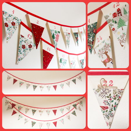 advent calendar bunting Christmasfabric flags red fold green holly poinsettia reindeer gift family fun tradition