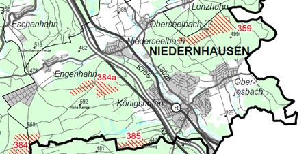 © RP Darmstadt: Entwurf Windvorrangflächen - Ausschnitt Karte 1 des Teilplanentwurfs