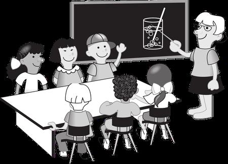 Cartoon einer Lehrerin for eine Klasse mit sechs SchülerInnen