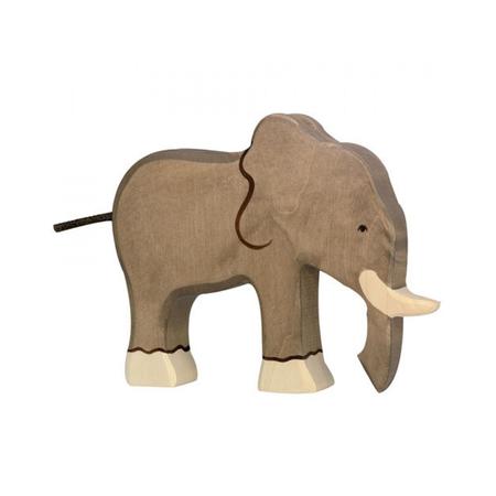 Holztiger, houten olifant, houten speelgoed.