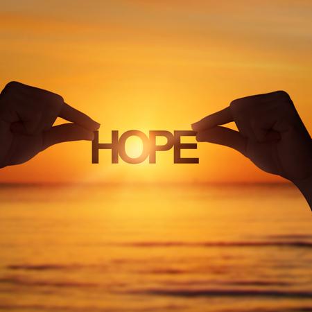 Zonsondergang, hope, hoop houden.