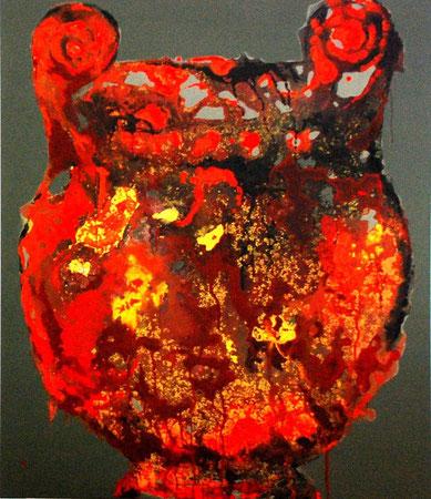 vase etrusque rouge/vert 120x100
