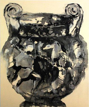 vase etrusque gris-noir/jaune 120x100