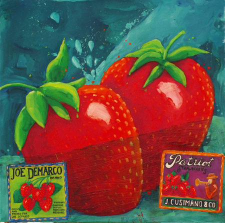 Patriot Strawberries 2010 Oil on canvas 100x100cm