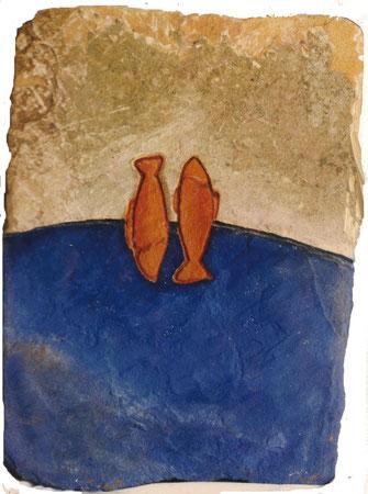 Orange Fishes 1996 Mixed media on sandstone