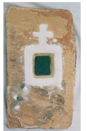 Balearic protective cross 2007 Whitewash on sandstone.