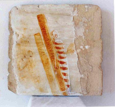 Contra-Orange 2003 Mixed media on sandstone 49x51