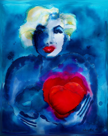 Big hearted 2009 Mixed media on silk and canvas 73x61cm available