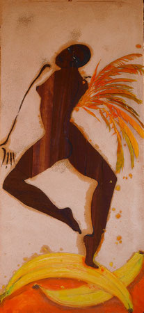 Banana Angel II. 2009 Sand,wood,oil on canvas 98x45cm