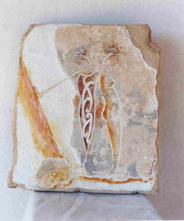 Contrapeso 2003 Mixed media on sandstone 33x39.