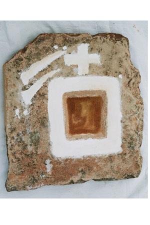 Balearic cosmic cross 2007 white wash on sandstone