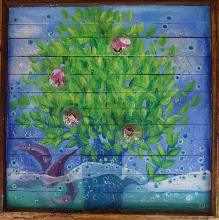 Spring Fruits 2014 Oil, light bulbs on wood panels 60x60 cm  - available