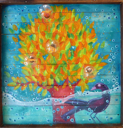 Autumn Fruits 2014 Oil, light bulbs on wood panels 60x60 cm - available