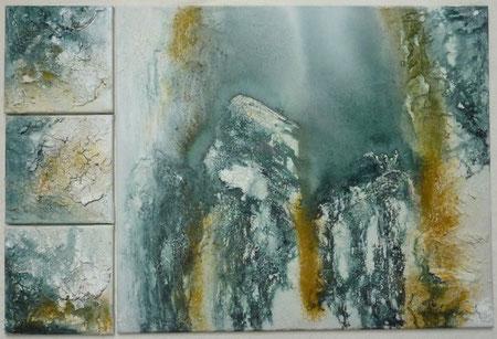 Weit oben im Berg oder tief unten im See - Pigmente und Tusche 90 x 60 cm, 2012