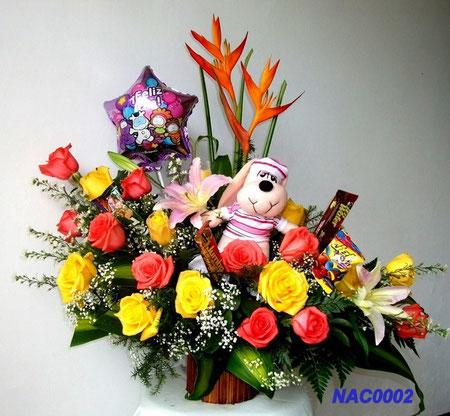 Ramo  EN FORMA DE L. contiene. 20 Rosas,  lirios, golden adrian y mueñeco de felpa, globo y chocolates. Valor.  $  110.000=