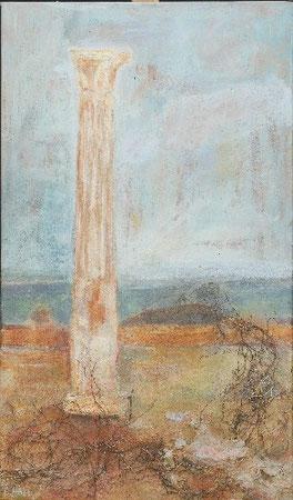 In Kathargo denke ich an Dido, 2005 _____ 85x50 Acryl, Sand, Papier, Zweige auf Baumwolle