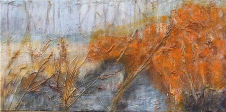 Jenischpark 2, 06/2007 _____ 40x80 Acryl, Papier, Sand, Gräser, Lava auf Baumwolle
