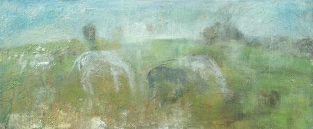 Schattenpferdeschatten, 2009          50x120 Acryl, Papier, Gips, Sand auf Leinwand