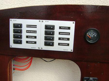 Le tableau à disjoncteurs et un voltmètre.