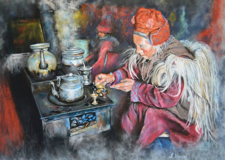 Les lampes à huile (Inspiré d'une photo d'Agnès Cassière avec son autorisation)
